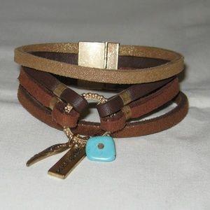 Jewelry - Leather & Charm Bracelet Turquoise Goldtone p3264